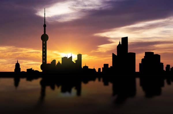 Chinese Pavilion Photograph - Shanghai China Sunset Skyline  by Aged Pixel