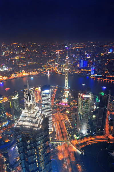 Photograph - Shanghai City Aerial View by Songquan Deng