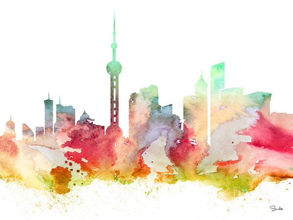 Chinese Girl Wall Art - Painting - Shanghai by Watercolor Girl