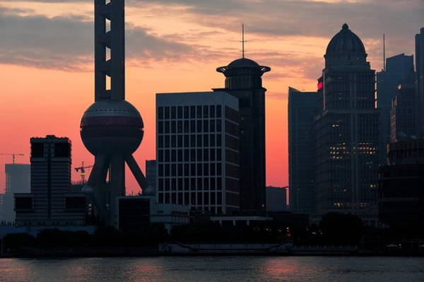 Photograph - Shanghai Morning Skyline Silhouette by Songquan Deng
