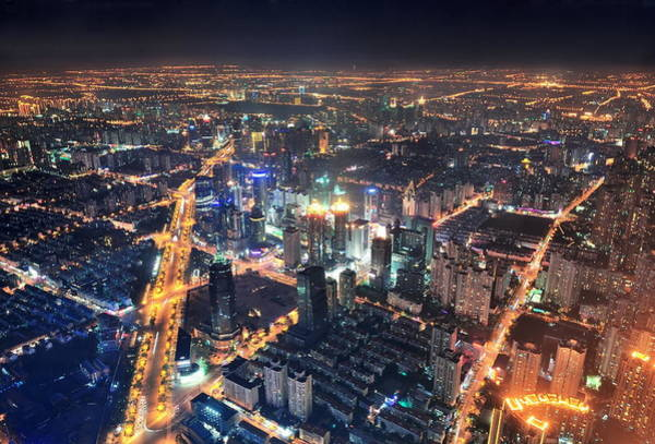 Photograph - Shanghai Night Aerial View by Songquan Deng