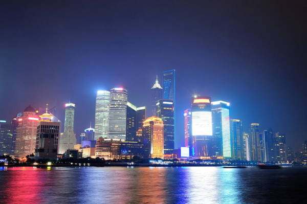 Photograph - Shanghai Night Panorama by Songquan Deng