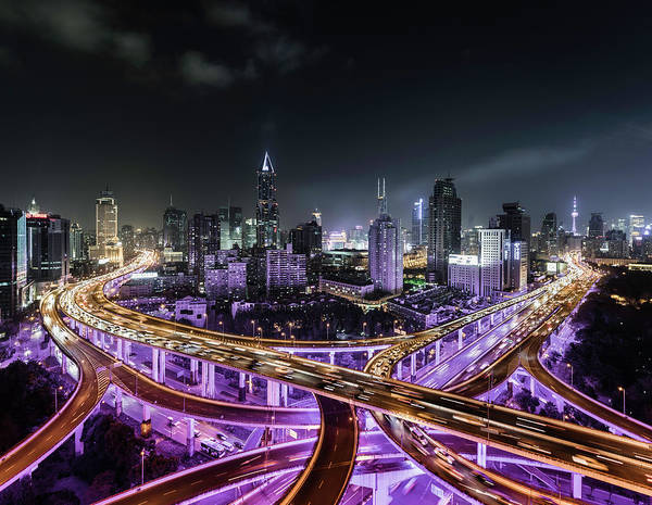 Photograph - Shanghai Skyline And Road Intersection by Martin Puddy