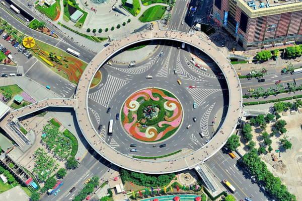 Photograph - Shanghai Street Aerial View by Songquan Deng