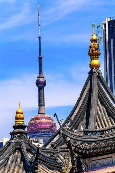 Wall Art - Photograph - Shanghai Tv Tower From Yuyuan Garden by William Perry