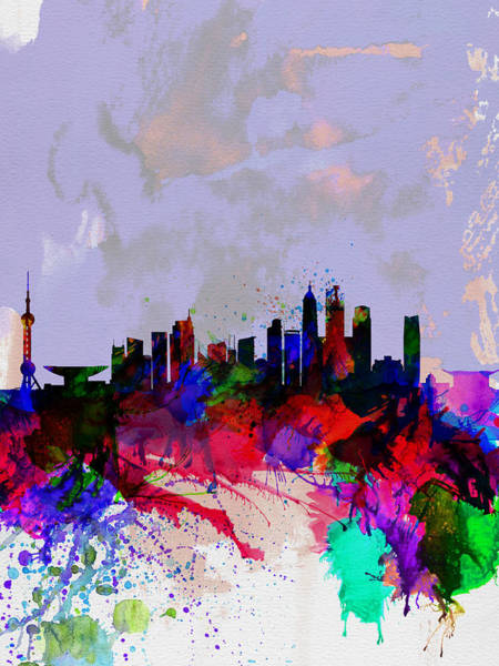 Chinese Painting - Shanghai Watercolor Skyline by Naxart Studio