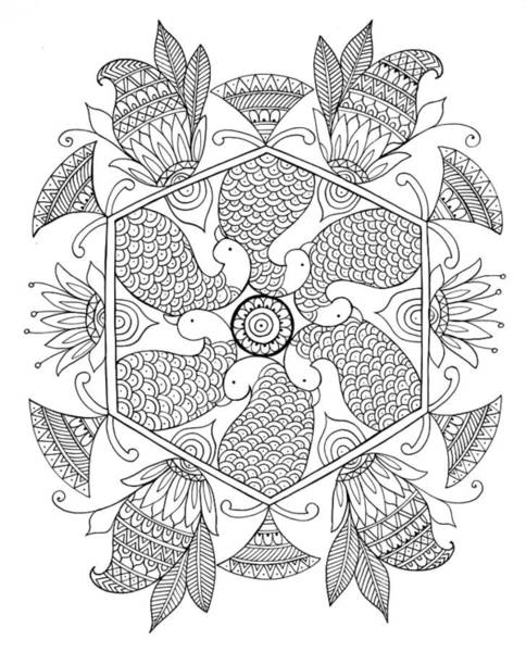Colours Drawing - Shape Pattern 1 by MGL Meiklejohn Graphics Licensing