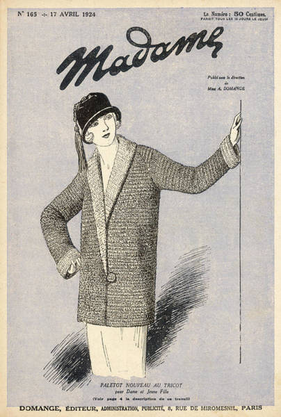1924 Drawing - Shapeless Knitted Jacket With  Raglan by Mary Evans Picture Library