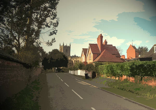 Straight Ahead Wall Art - Drawing - Shardlow Road In Aston-on-trent, All Saints Church by Litz Collection