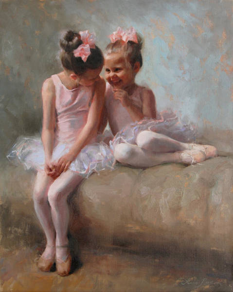 Child Painting - Sharing Secrets by Anna Rose Bain