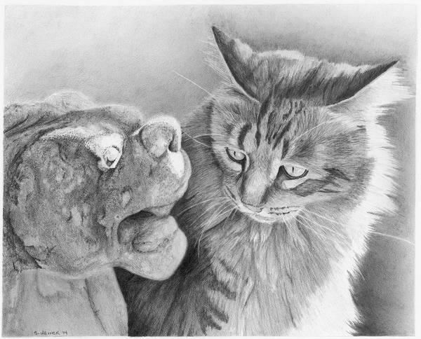 Tabby Drawing - Sharing Secrets by Sandra Weiner