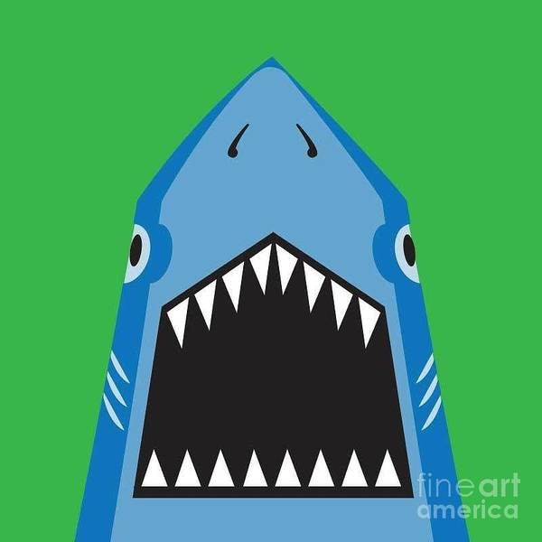 Wall Art - Digital Art - Shark Illustration, T-shirt Graphics by Syquallo