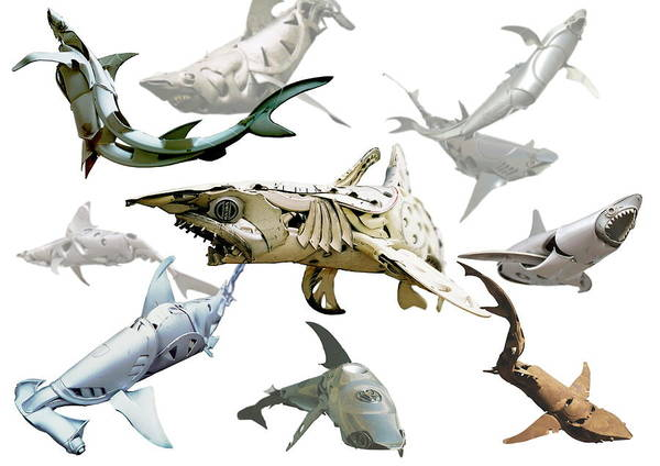 Hammerhead Photograph - Shark Sculptures by Www.hubcapcreatures.com/science Photo Library