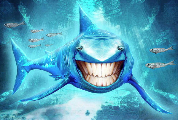 Toothy Smile Digital Art - Shark Swimming With Toothy Smile by Paul Roget