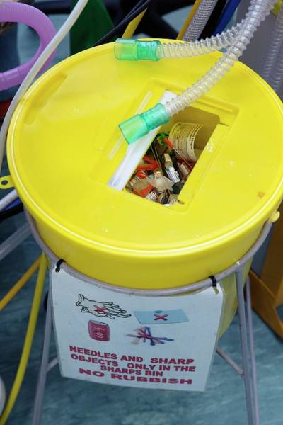 Wall Art - Photograph - Sharps Disposal Bin by Mark Thomas/science Photo Library