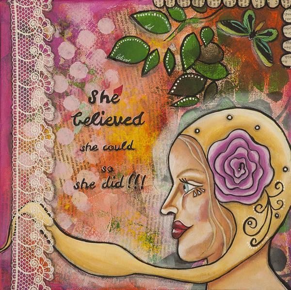 She Mixed Media - She Believed She Could So She Did Inspirational Mixed Media Folk Art by Stanka Vukelic