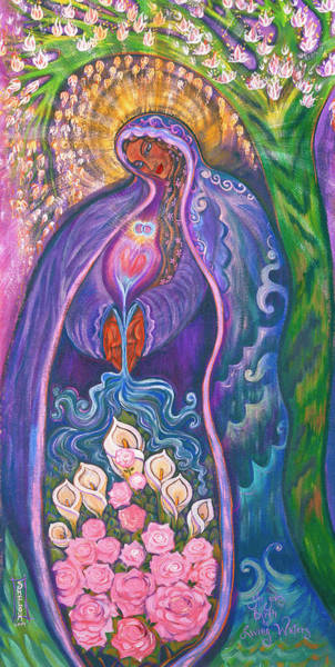 She Painting - She Gives Birth To Living Waters by Shiloh Sophia McCloud