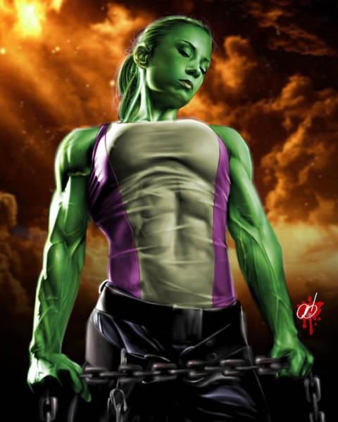 Painting - She-hulk 2 by Pete Tapang