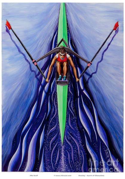 Rowing Wall Art - Painting - She Scull By O4rsom. Rowing Sport Of Champions by Tonia Williams