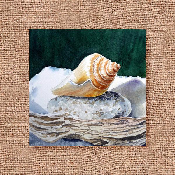 Wall Art - Painting - She Sells Seashells Decorative Design by Irina Sztukowski