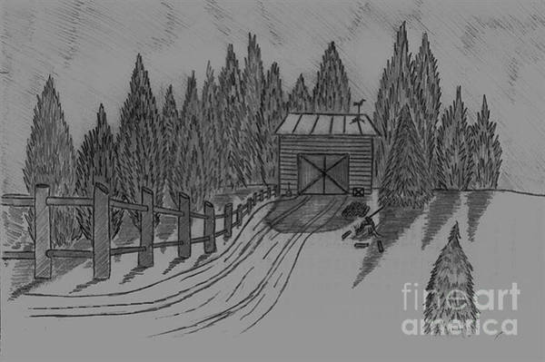 Drawing - Shed In The Snow by Neil Stuart Coffey