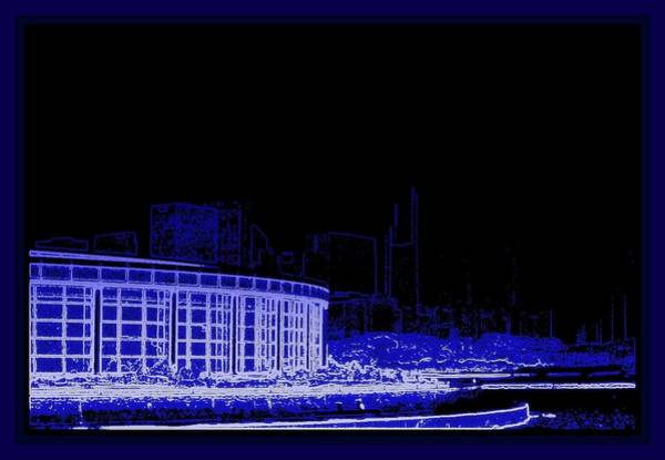 Mamal Digital Art - Shedds Aquarium And Chicago Skyline Blue Digital Drawing by Rosemarie E Seppala