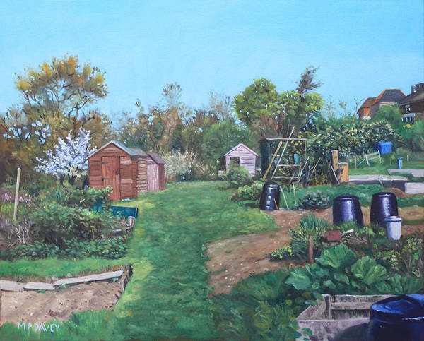 Painting - Sheds On Allotments At Southampton by Martin Davey