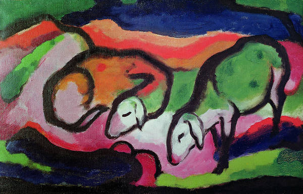 Franz Painting - Sheep, 1912  by Franz Marc
