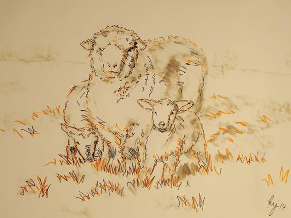 Painting - Sheep And Lambs by Mike Jory