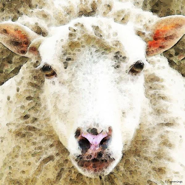Painting - Sheep Art - White Sheep by Sharon Cummings