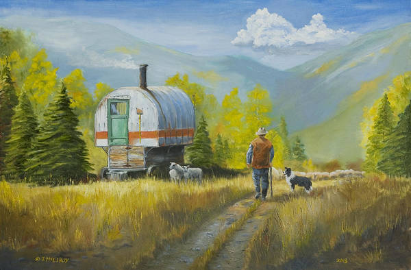 Wall Art - Painting - Sheep Camp by Jerry McElroy