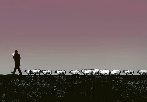 Tweets Photograph - Sheep Following Man Using Smart Phone by Ikon Images