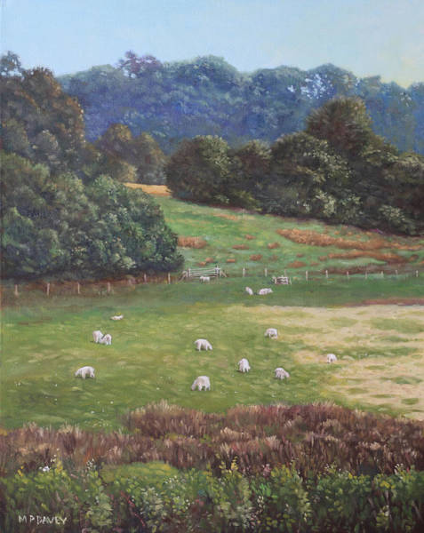 Painting - Sheep In A Field In The Devon Countryside by Martin Davey