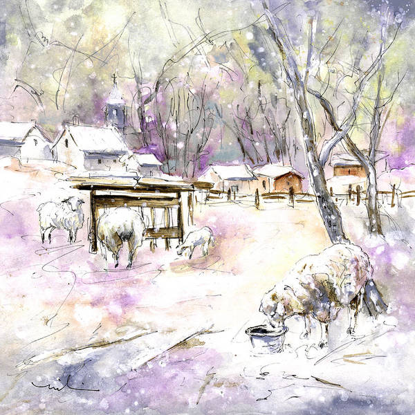 Painting - Sheep In Snow In Germany by Miki De Goodaboom