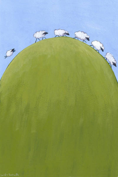 Spring Painting - Whimsical Sheep Art by Christy Beckwith