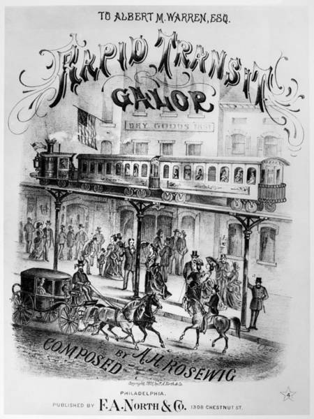 American Car Drawing - Sheet Music Cover, 1875 by Granger