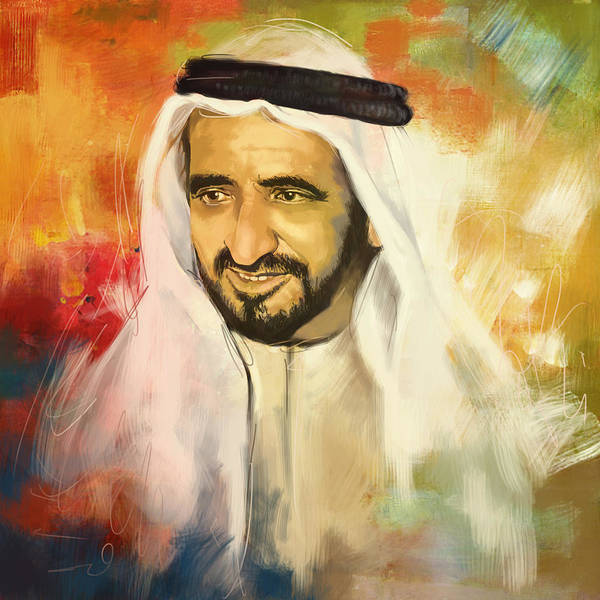 Bin Wall Art - Painting - Sheikh Rashid Bin Saeed Al Maktoum by Corporate Art Task Force