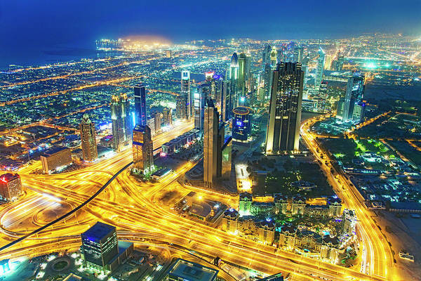 Desert View Tower Photograph - Sheikh Zayed Road Skyline Of Dubai by Eli asenova