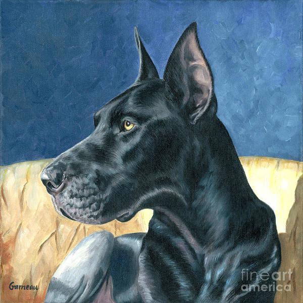 Black Great Dane Painting - Sheitan by Catherine Garneau
