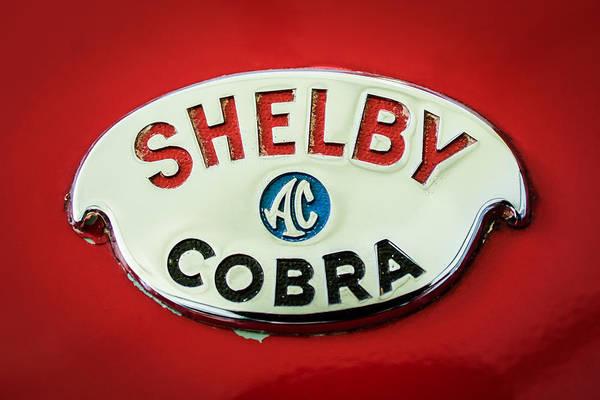 Ac Cobra Wall Art - Photograph - Shelby Ac Cobra Emblem -0282c by Jill Reger