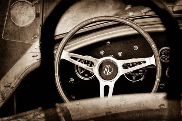 Ac Cobra Wall Art - Photograph - Shelby Ac Cobra Steering Wheel Emblem by Jill Reger