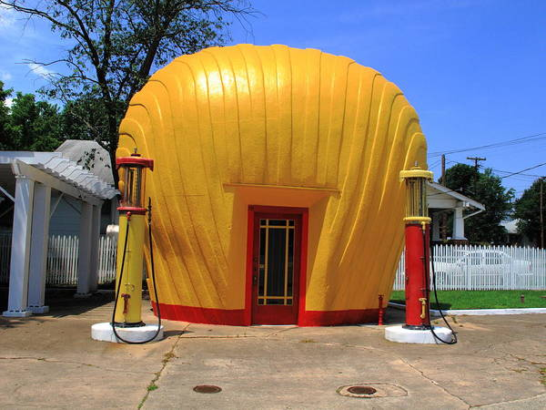 Photograph - Winston-salem Nc - Shell Shaped Gas Station by Frank Romeo