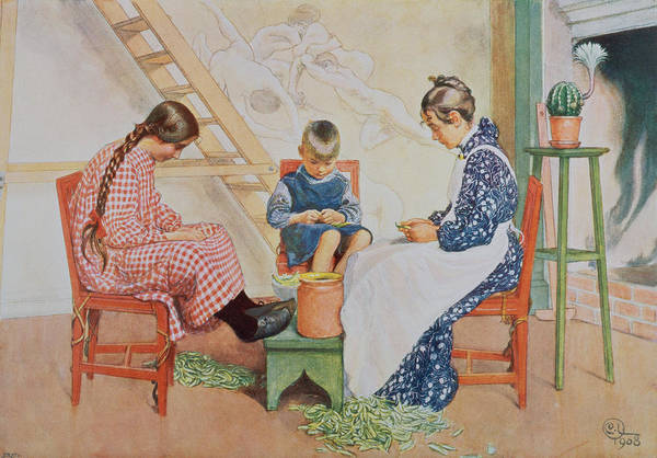 Mural Painting - Shelling Peas, Pub. In Lasst Licht by Carl Larsson