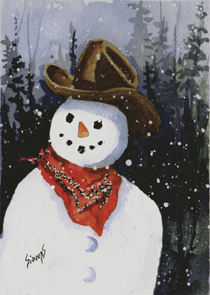 Painting - Shelly's Snowman by Sam Sidders