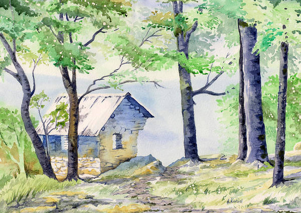 Lost River State Park Wall Art - Painting - Shelter At Cranny Crow by Alina Kurbiel