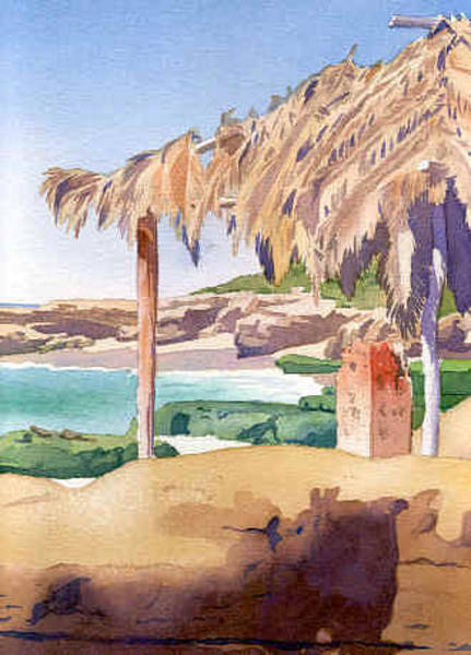 Southern California Painting - Shelter At Wind 'n Sea Beach Lj by Mary Helmreich