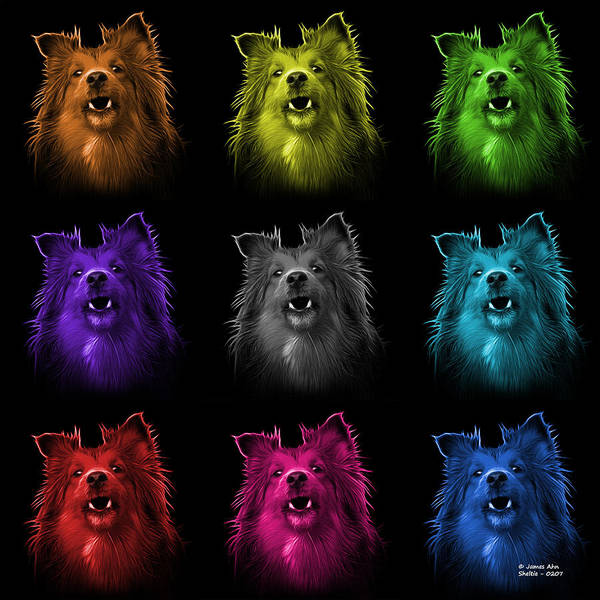 Painting - Sheltie Dog Art 0207 - Bb - M by James Ahn