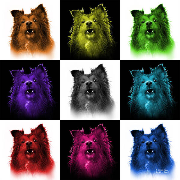 Painting - Sheltie Dog Art 0207 - V2 - M by James Ahn