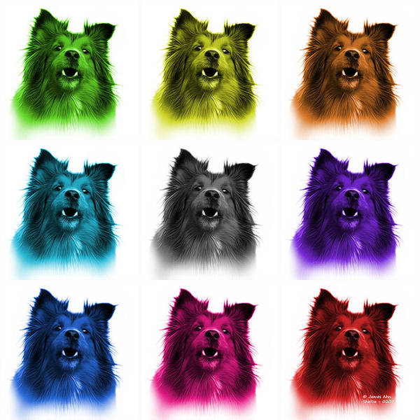 Painting - Sheltie Dog Art 0207 - Wb - M by James Ahn