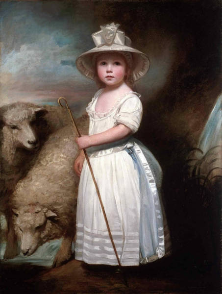 Romney Painting - Shepherd Girl. Little Bo-peep by George Romney